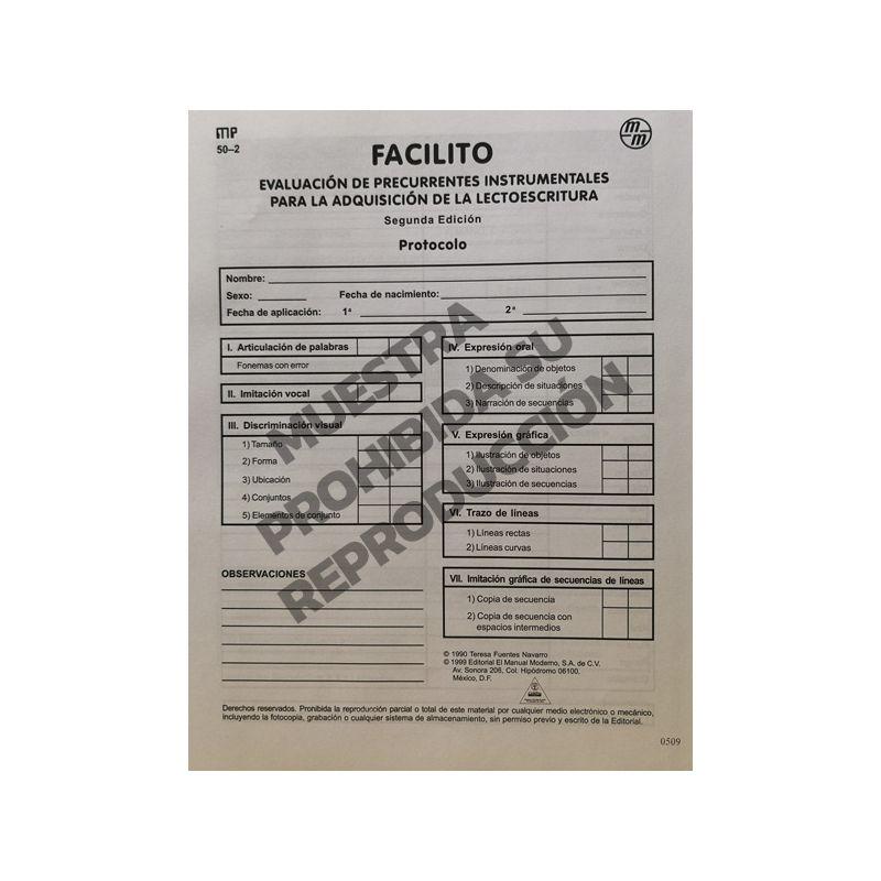 Protocolo Paq. 15 FACILITO- Evaluación de precurrentes instrumentales para la adquisición de la lectoescritura