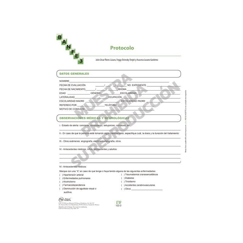 Protocolo Paq. 10 - BANFE-3:  Batería Neuropsicológica de Funciones Ejecutivas y Lóbulos Frontales