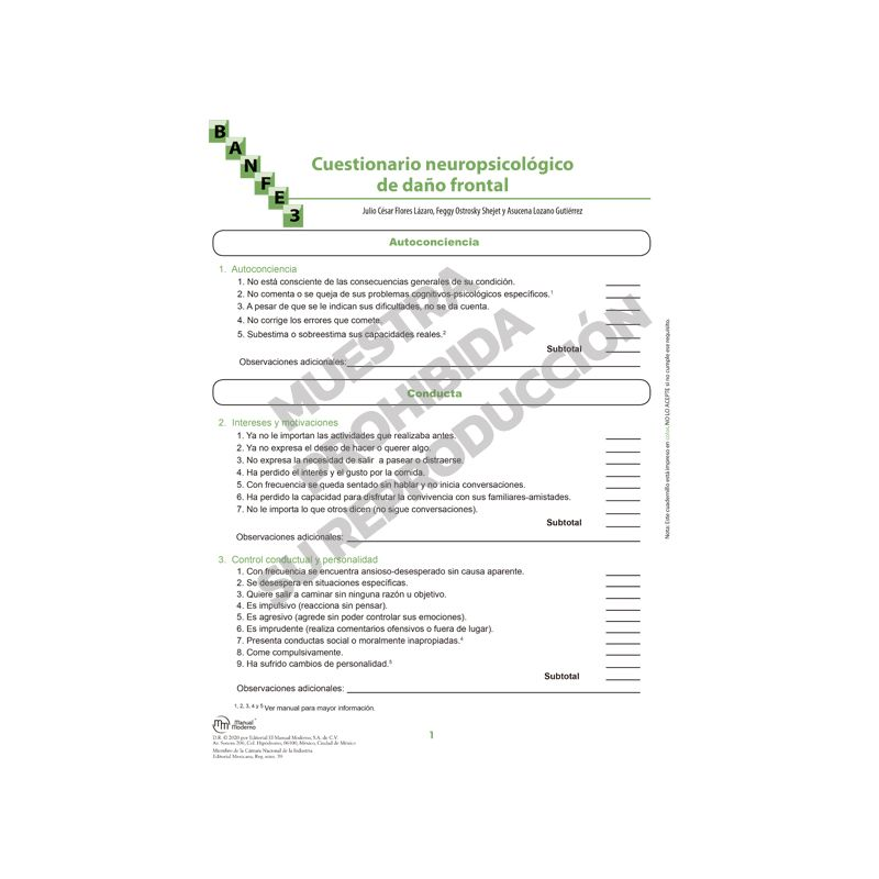 Cuestionario neuropsicológico de daño frontal Paq. 10 - BANFE-3:  Batería Neuropsicológica de Funciones Ejecutivas y Lóbulos Frontales